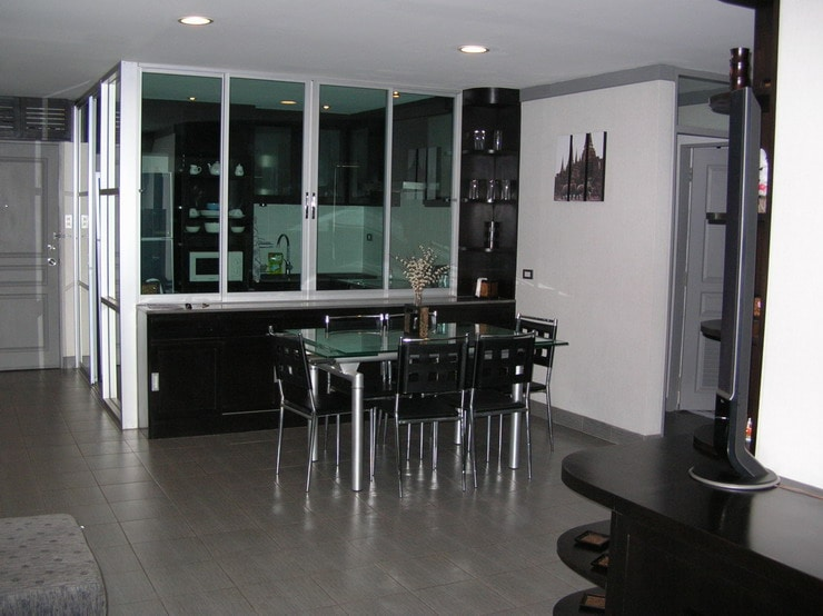 Kitchen area has glass sliding walls to allow enslosed for cooking