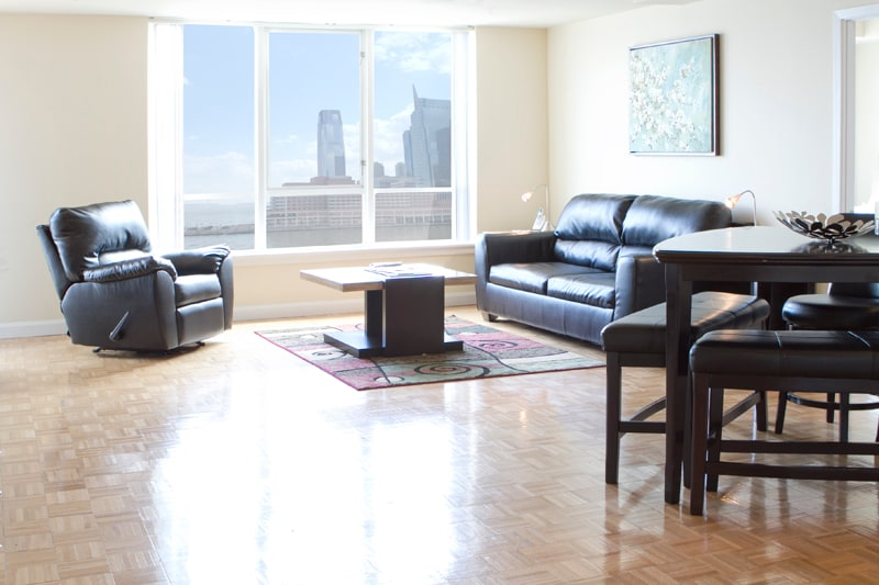 Bright and Spacious Living Room with Amazing Hudson River Views and a Queen Size fold-out sofabed
