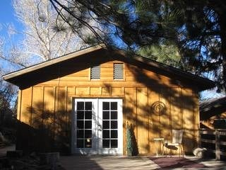 The Hideaway Cabin, a Wrightwood vacation rental 5 miles to Mt. High. Not shown: the private deck now has a table with 4 chairs plus there's a large gas BBQ for grilling.