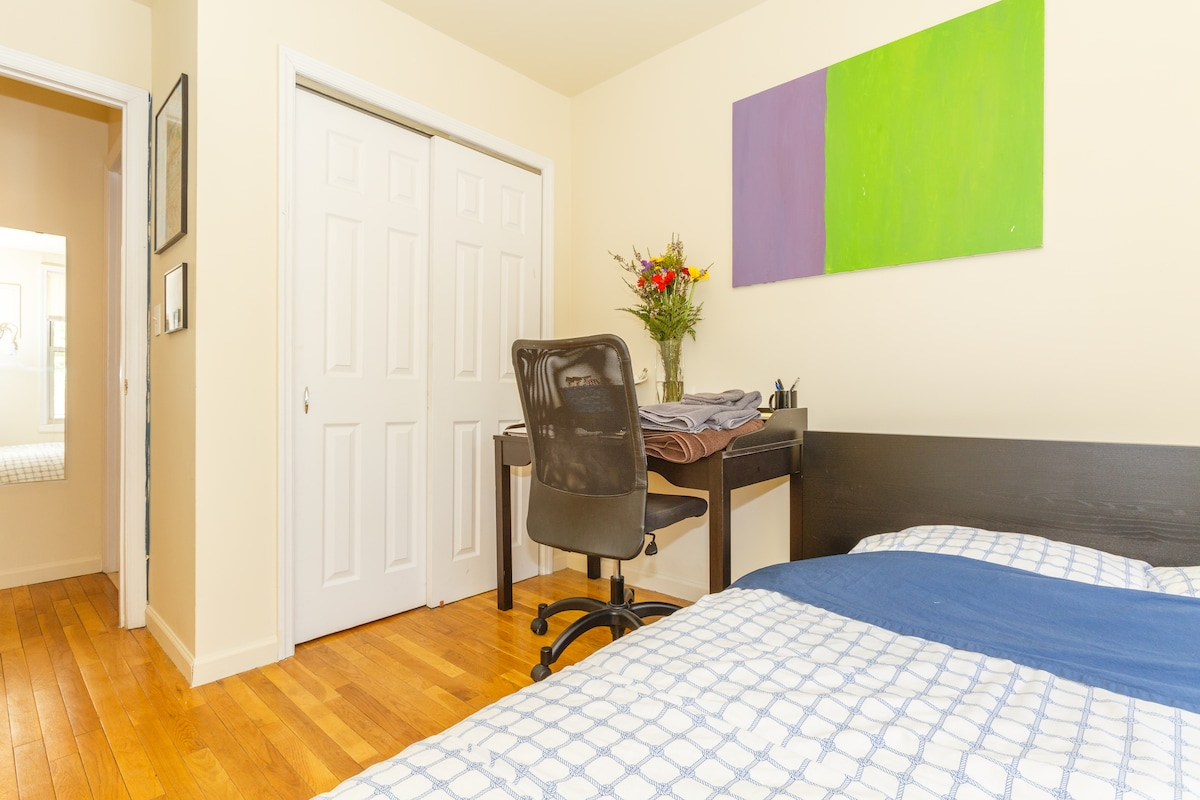 Chair, desk closet, all in the guest room.