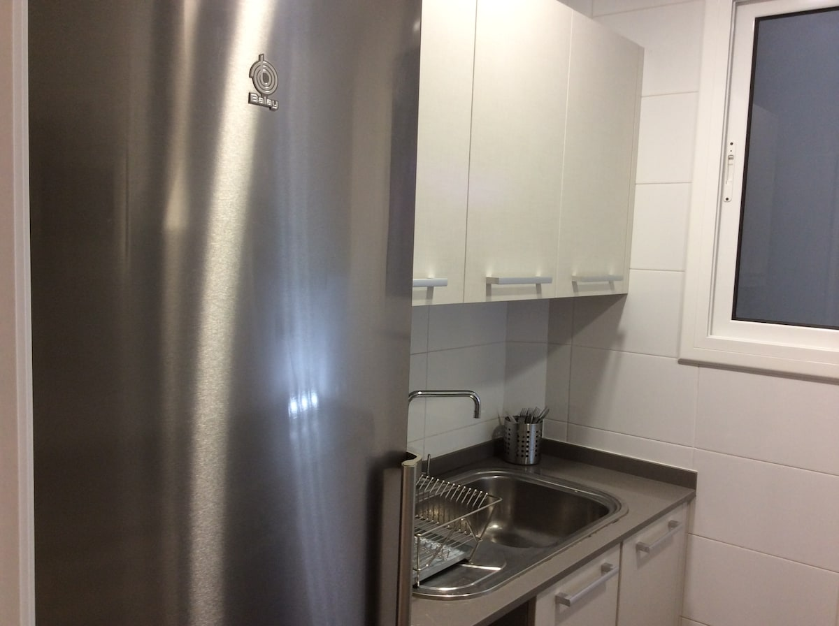 Newly renovated kitchen with appliances aluminium;oven, microwave,fridge,hob..