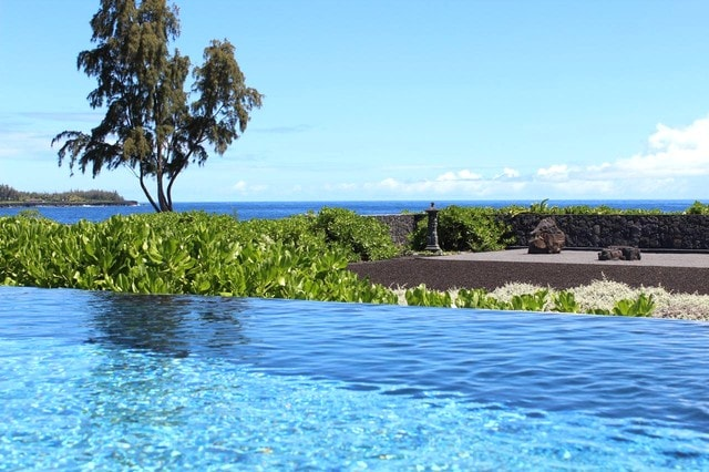 Pool overlooks Zen Garden and ocean