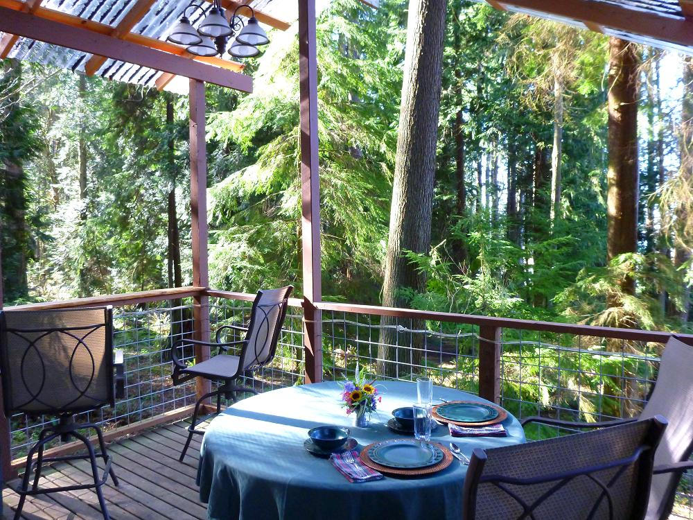 Enjoy meals enveloped in soothing forest, bird songs, and deer strolling by.