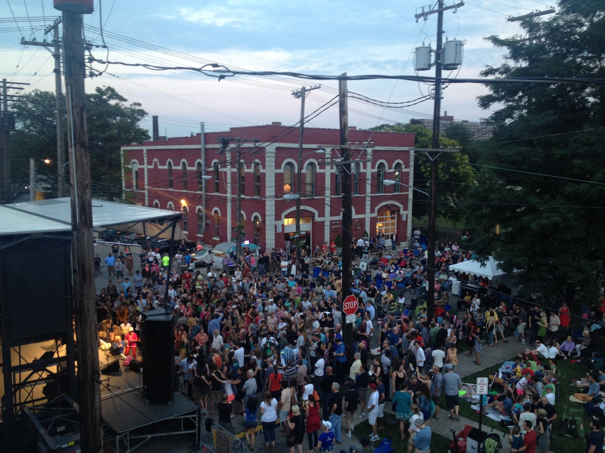 A shot of the summer concert series across the street (view from the apartment) - every Wednesday evening in July.