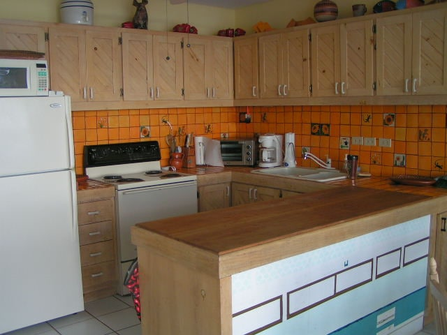 Kitchen is fully stocked, and ha dishwasher, s coffee maker, toaster oven, and everything you need. Plus washer/dryer