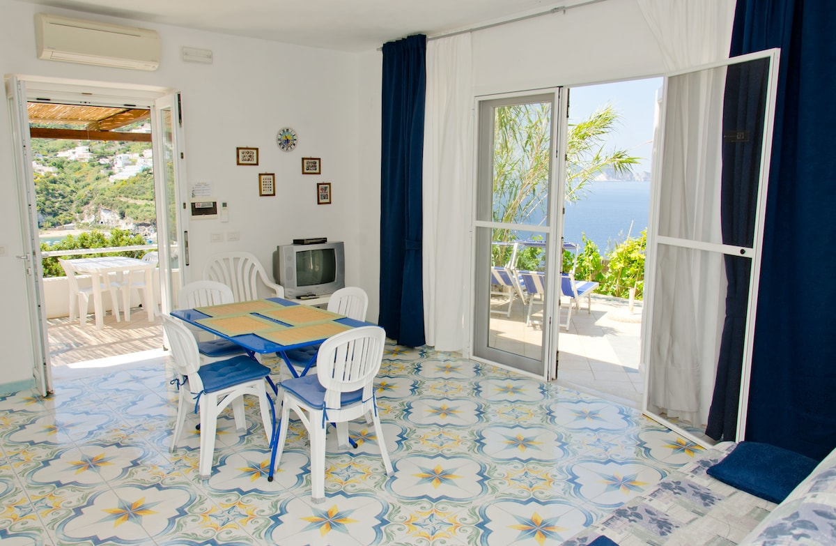 Beautifully maintained and tiled throughout, your kitchen has a constantly changing view of the Mediterranean.