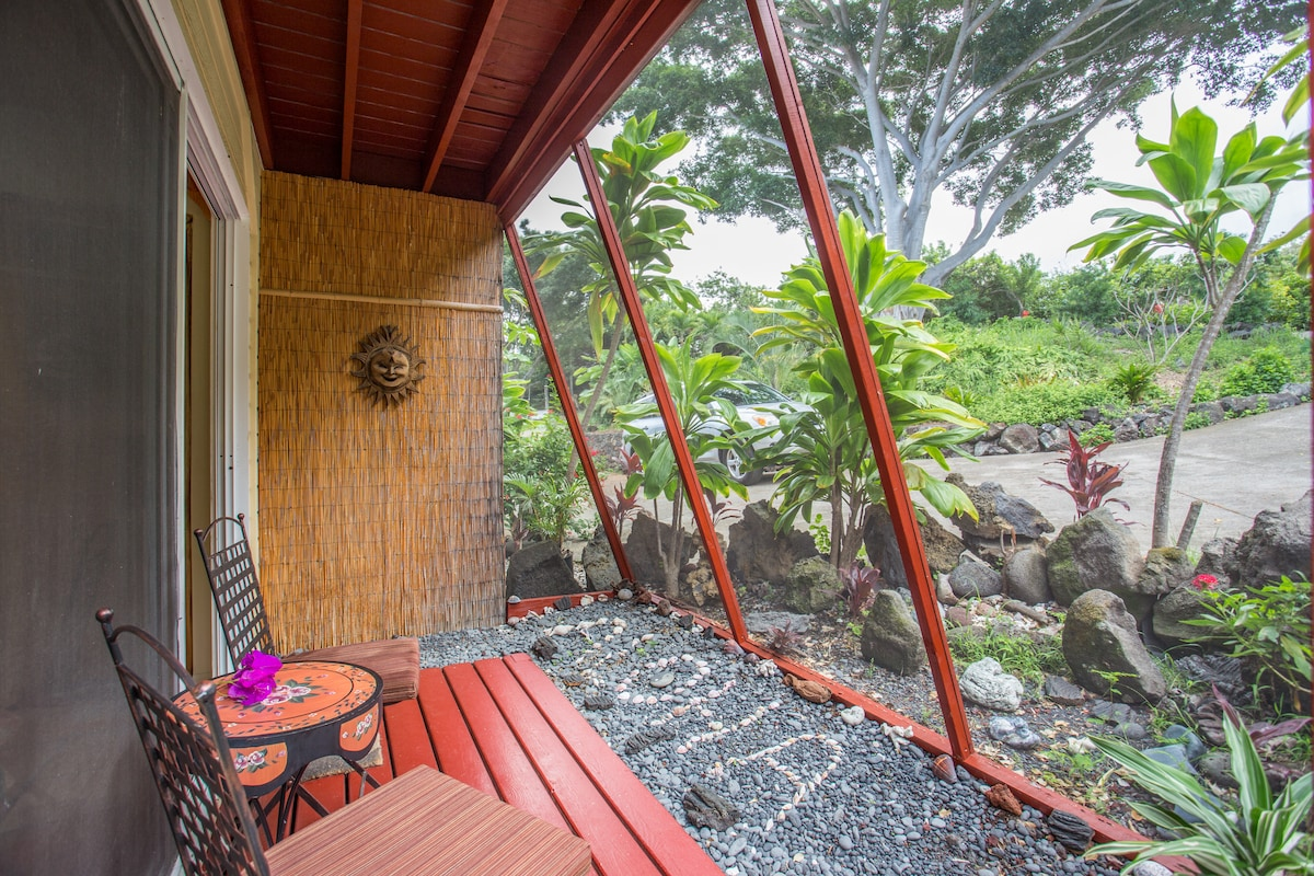 Exterior screened in private lanai of the MangoView room.
