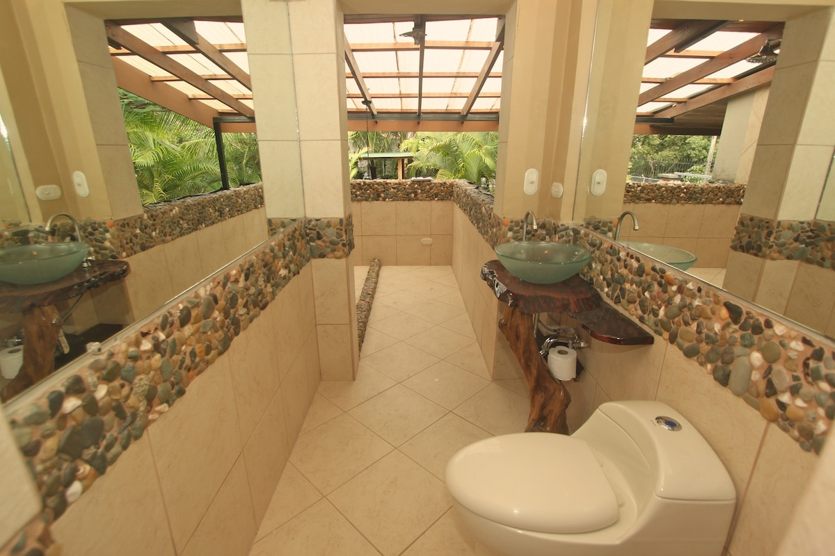 Our outdoor shower/bath combo is favorite among guests