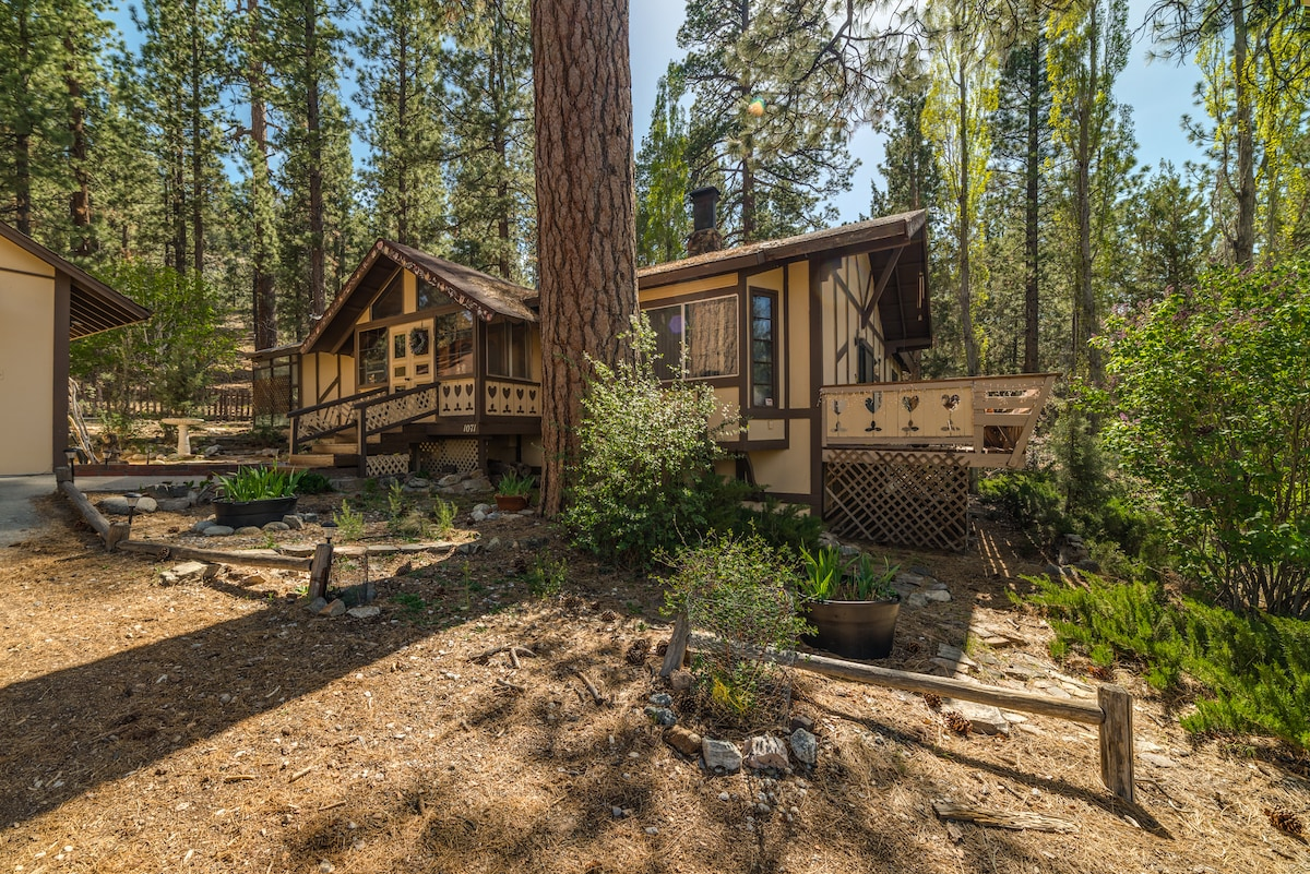 The Swiss-style Chalet was hand-crafted on 5 acres of old-growth pines. Trails through the National Forest begin outside your door. Just 2 hours from LA or OC, 3 from SD or Vegas.