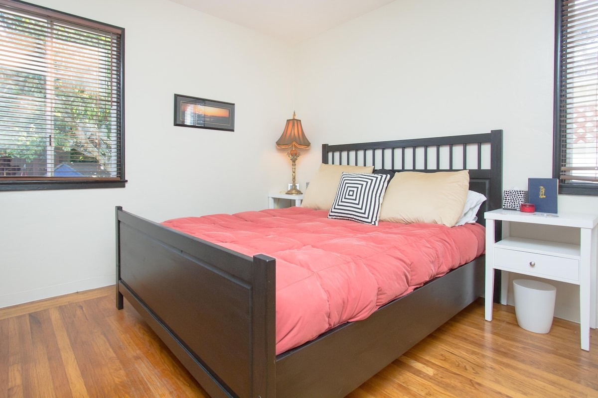 The guest room is yours entirely. It looks out onto our fabulous yard. It's a very relaxing room that we just remodeled this year.