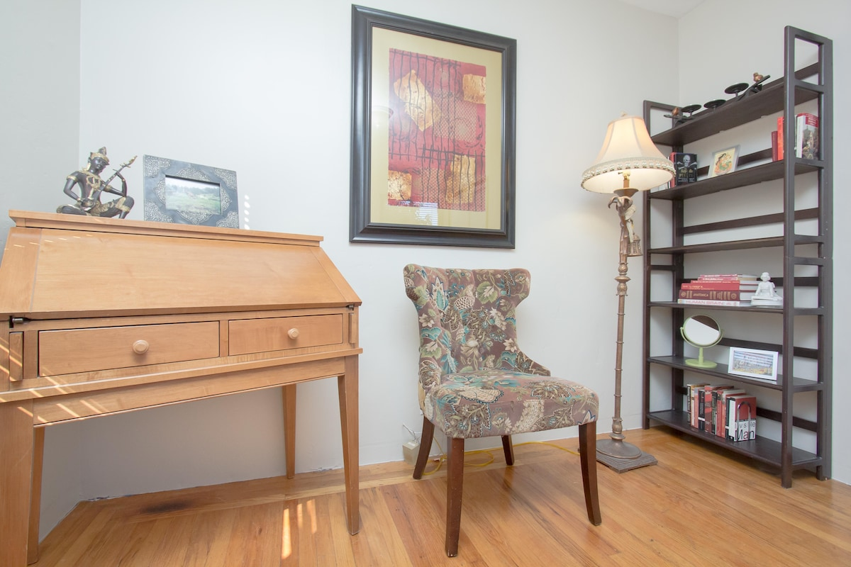 Your room has a desk and vanity area, shelves as a catch-all for you, and ample closet space. The room has all the little niceties provided, like a digital alarm clock, hangers, mirror, tissues, writing tools, and a waste bin. Plus any thing you forget is