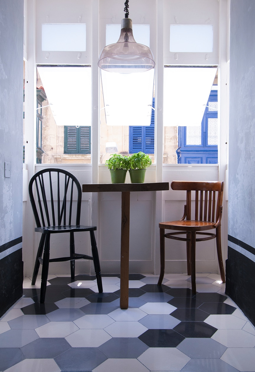 """Traditional Maltese balcony - """"gallarija"""" - perches onto the street and makes an intimate breakfast/dining area."""