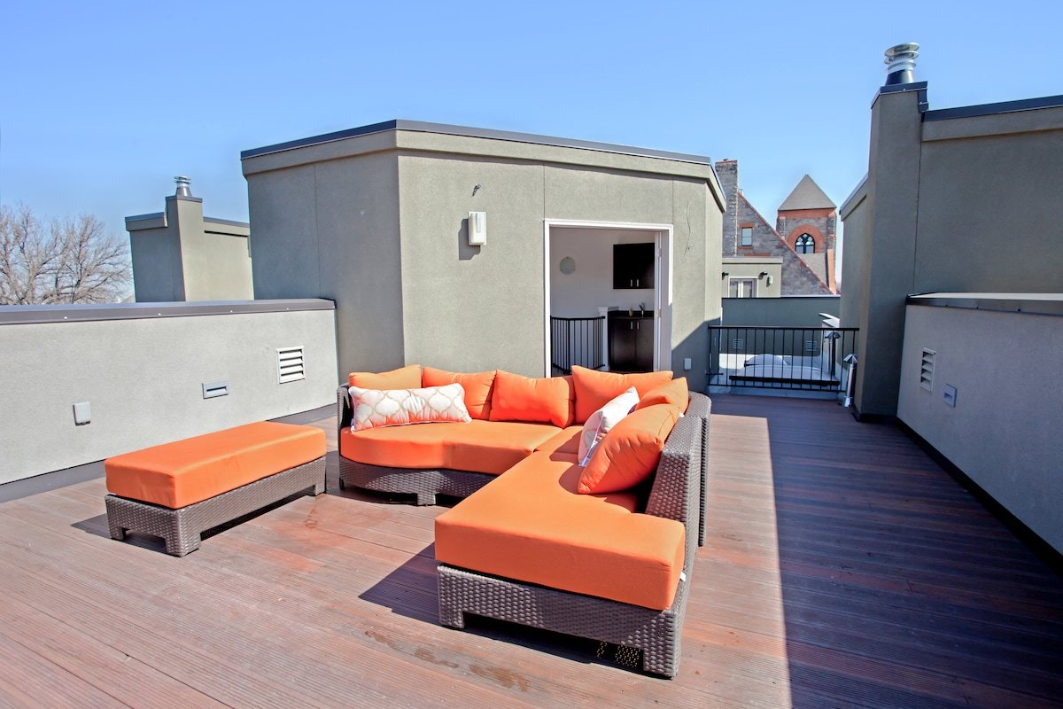Rooftop Deck. Great place to lounge and take in the city and mountain scenery!