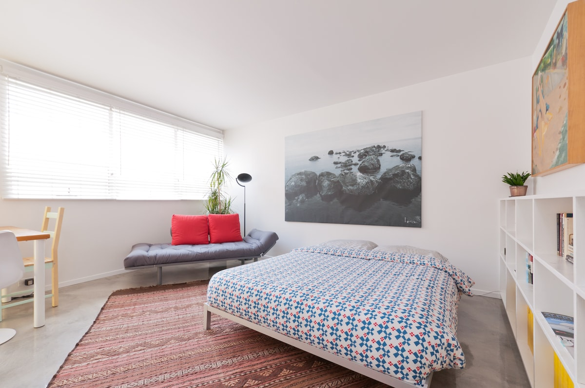Spacious room with plush queen bed & futon