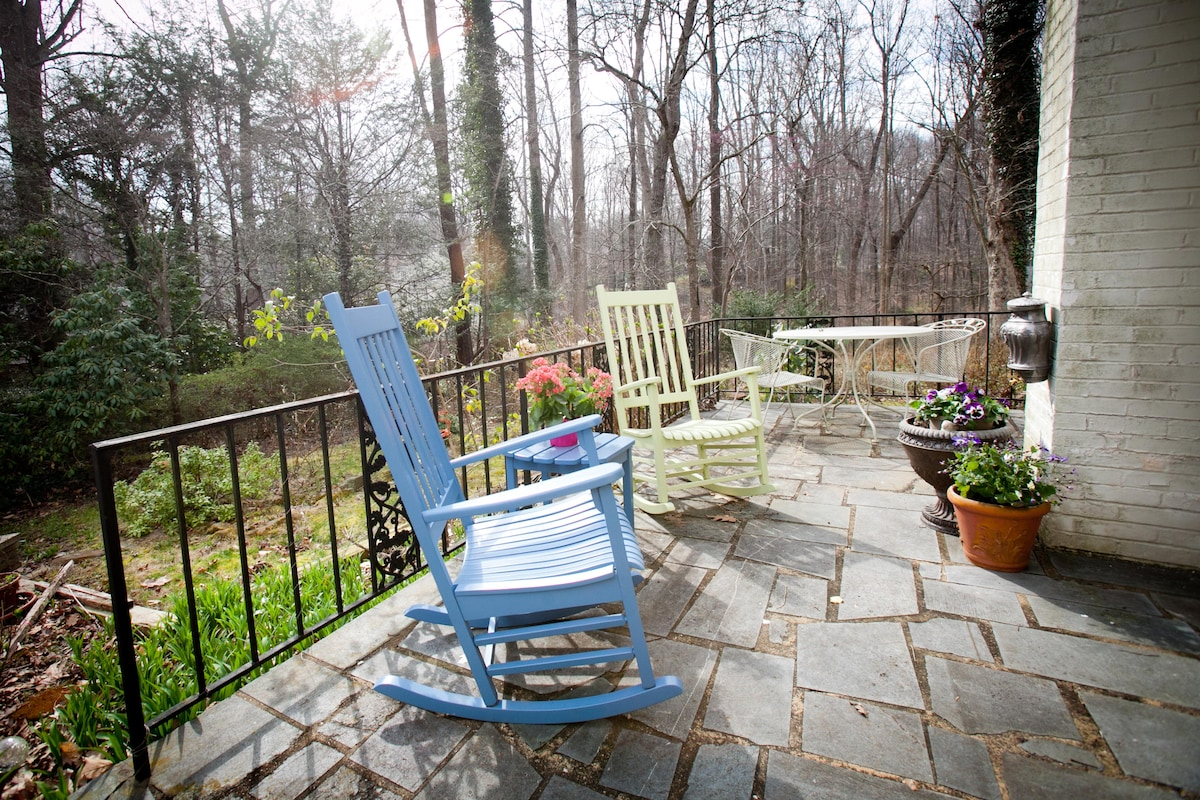 Relax on the patio and enjoy the gardens.