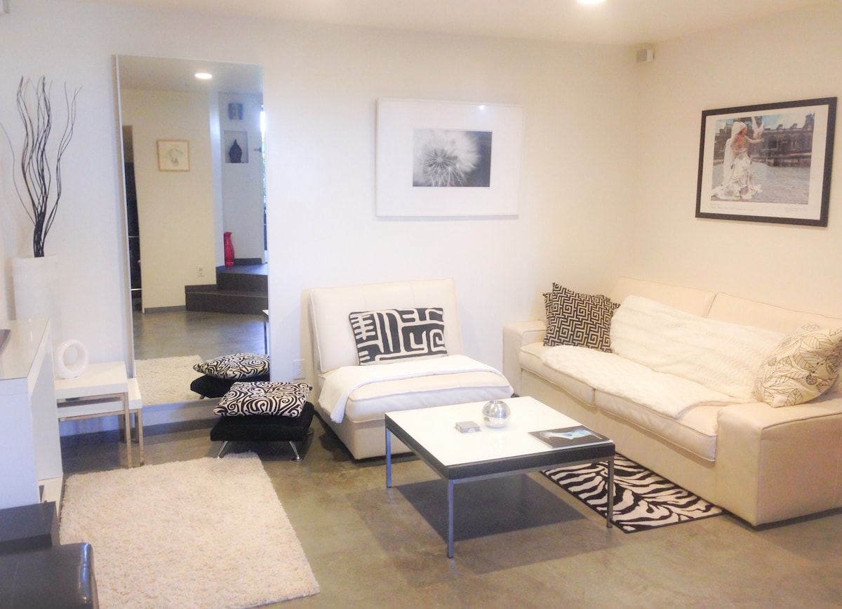 Living room with polished cement floors with hydronic radiant heat