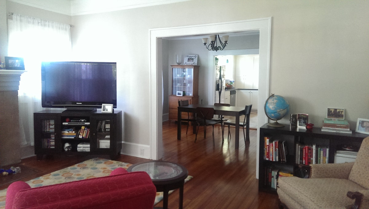 View of the living and dining areas from the front door