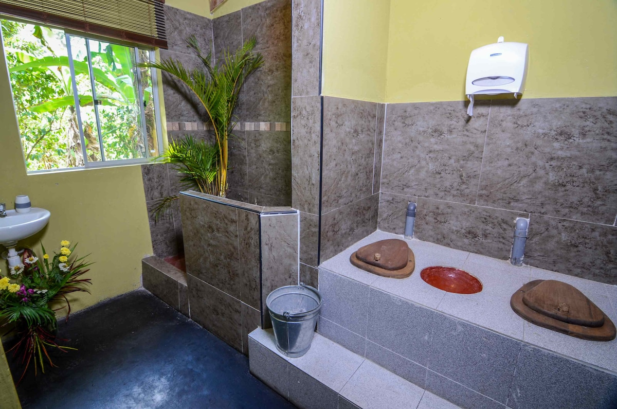 The shared bathroom for rooms 1 to 3