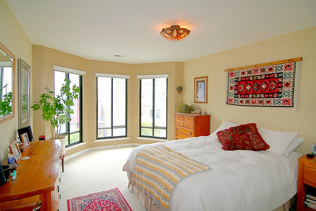 Spacious, cozy bedroom with lots of light and a GREAT view of downtown