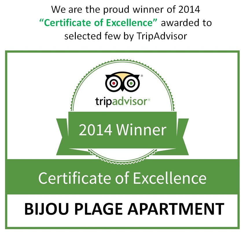 We are proud to be the winner of 2014.  TRIPADVISOR CERTIFICATE OF EXCELLENCE.  What is the Certificate of Excellence award? The Certificate of Excellence award honours hospitality excellence. The accolade is given only to establishments that consi