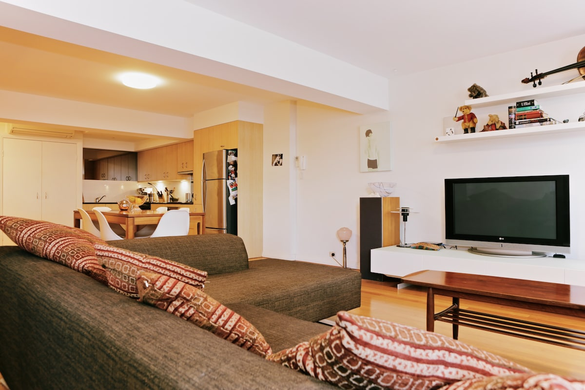 Large, comfortable sofa and wide screen TV...