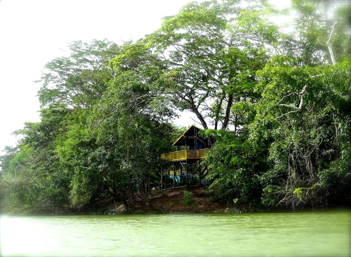 Romantic luxury riverside treehouse