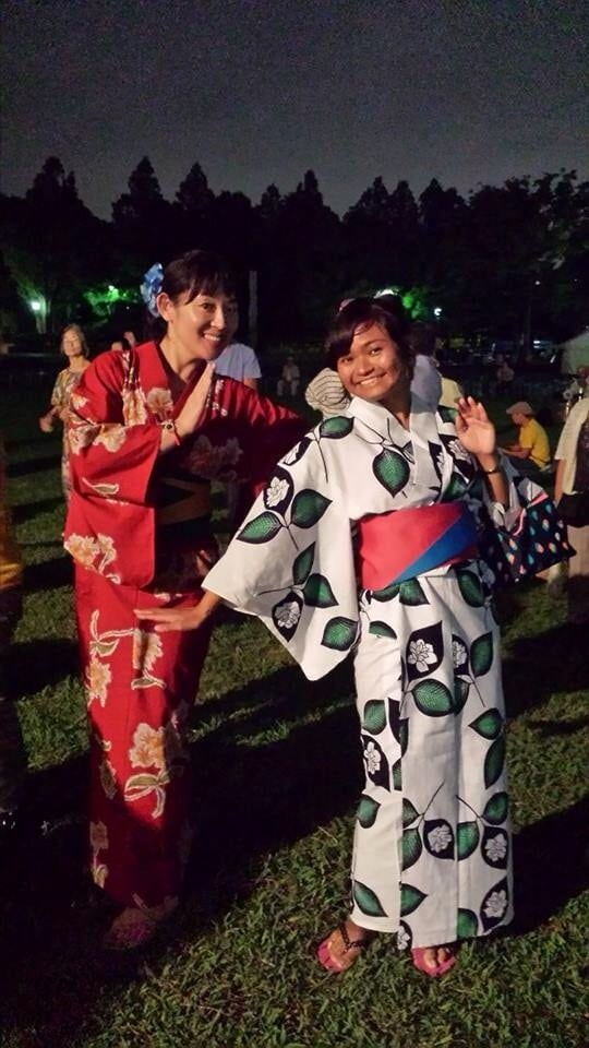 I invited my guest to Bon odori the special dance in Japan summer.