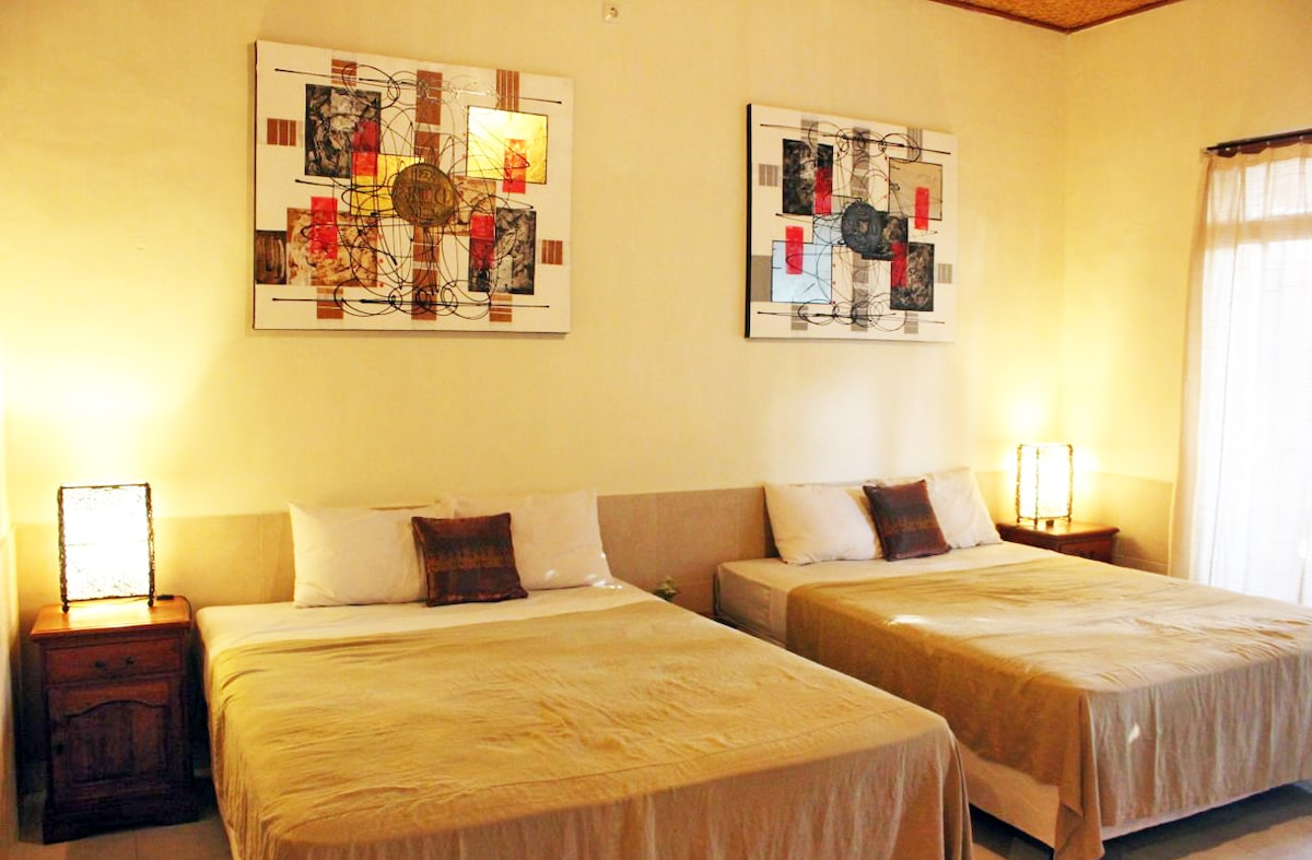2 New Queen Size Beds, Balinese Style Artwork.