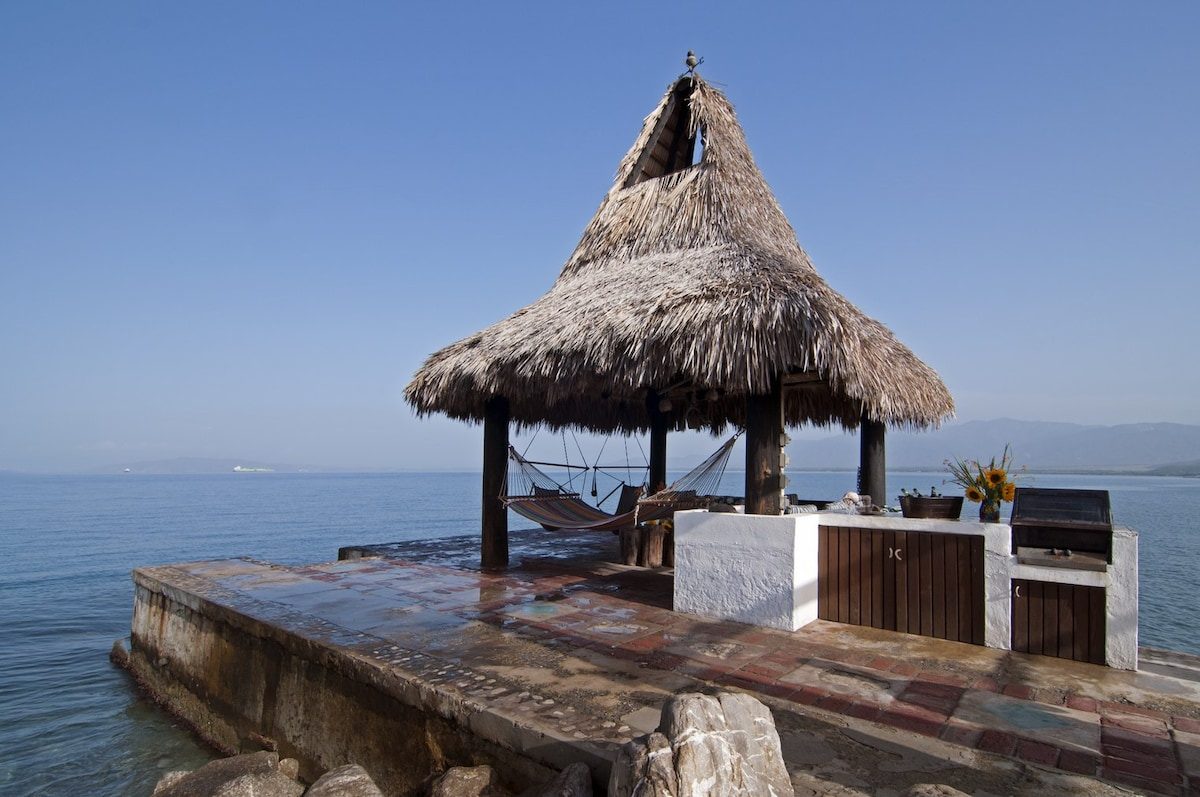 Palapa on the dock with second BBQ area and wet bar.
