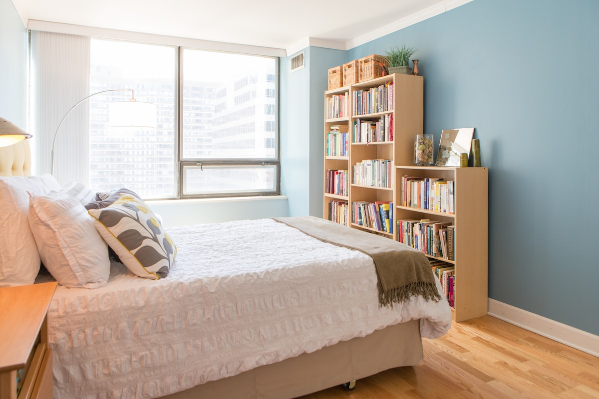 7/15: Sunny 1-bed 1 block off Mag Mile