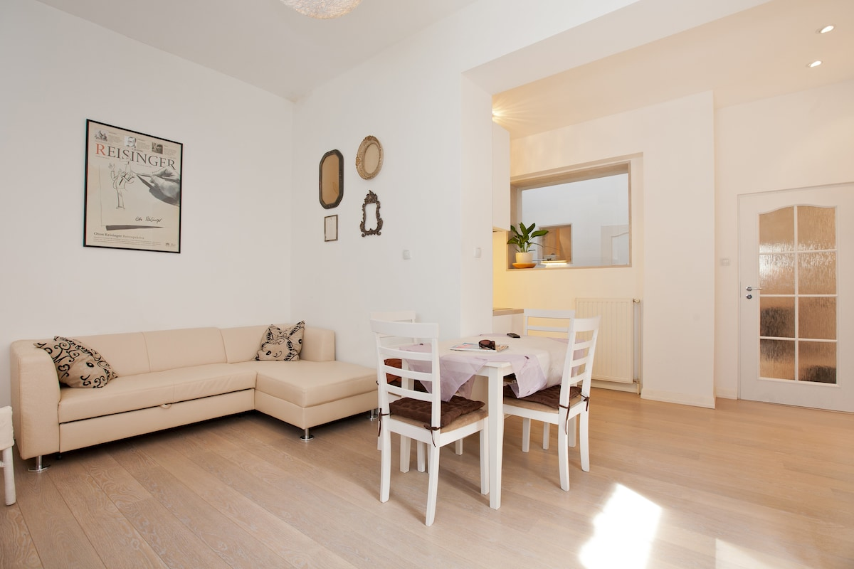 Large living room with extendable sofa, dining table for four and cable TV&WiFi all included :-)