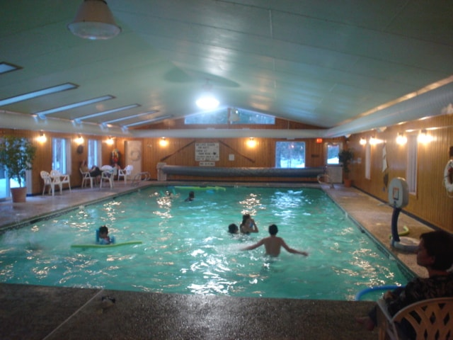 Indoor swimming at Colonial Mast Campground. Its open to the public all 4-seasons (winter is awesome); 5-minute drive.