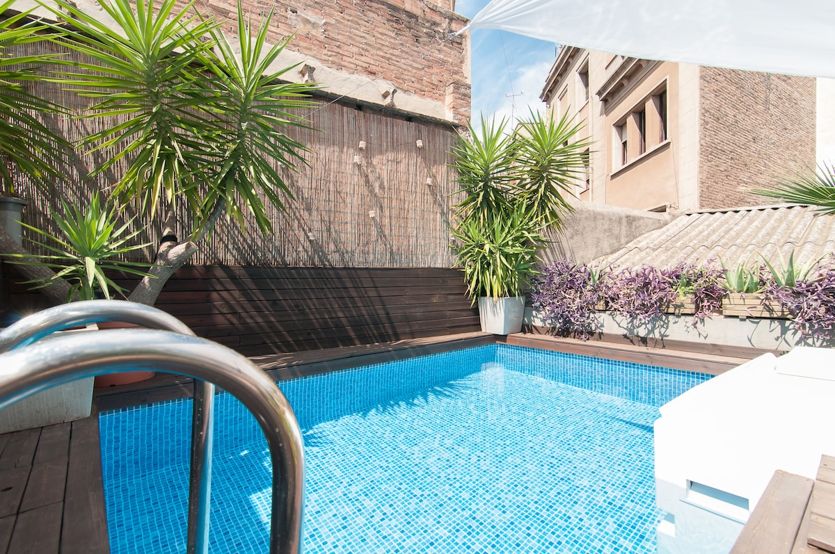 Pool size: 4 m long x 2.9 m wide, depth :1.2 m deep. UP-floor patio