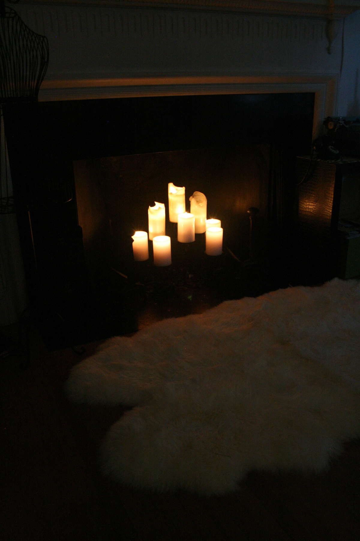 Real candles in the fireplace for cozy nights in.