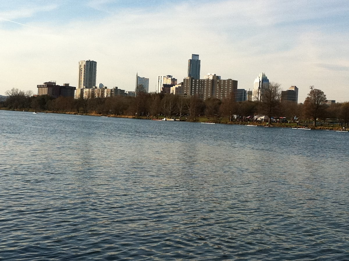 View of downtown Austin from shore.