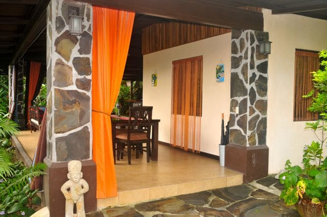 Welcome to the Villa Hermosa!  This is the front of the guesthouse with a view of the outdoor dining area.