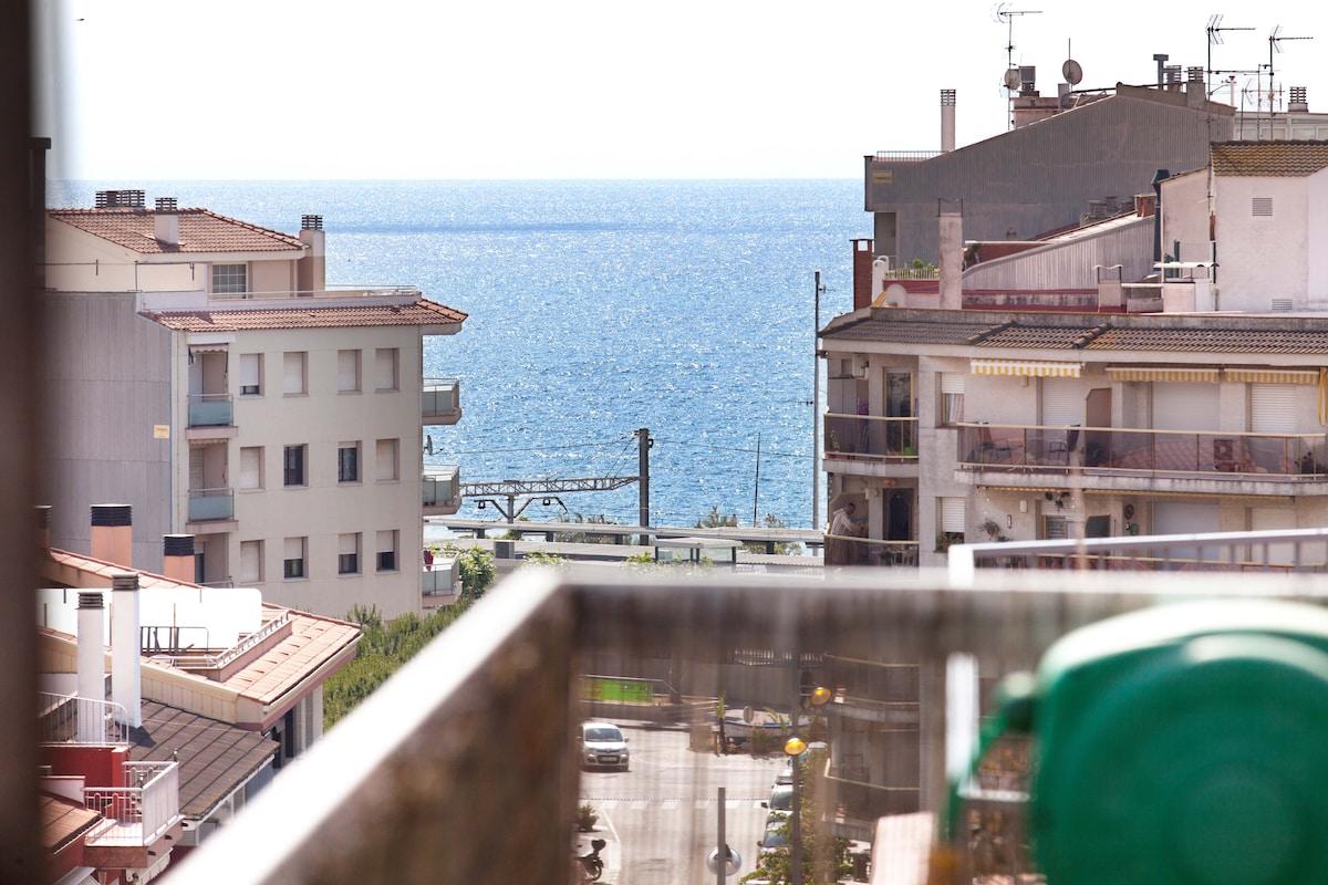 Vista lateral del mar