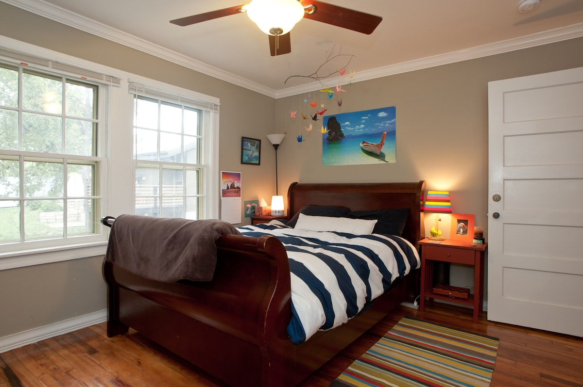 First bedroom: a comfy queen mattress with a big sleigh bedframe!