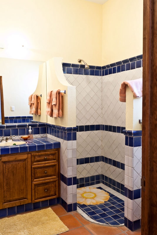 Mexican Bathroom with Mexican tiles