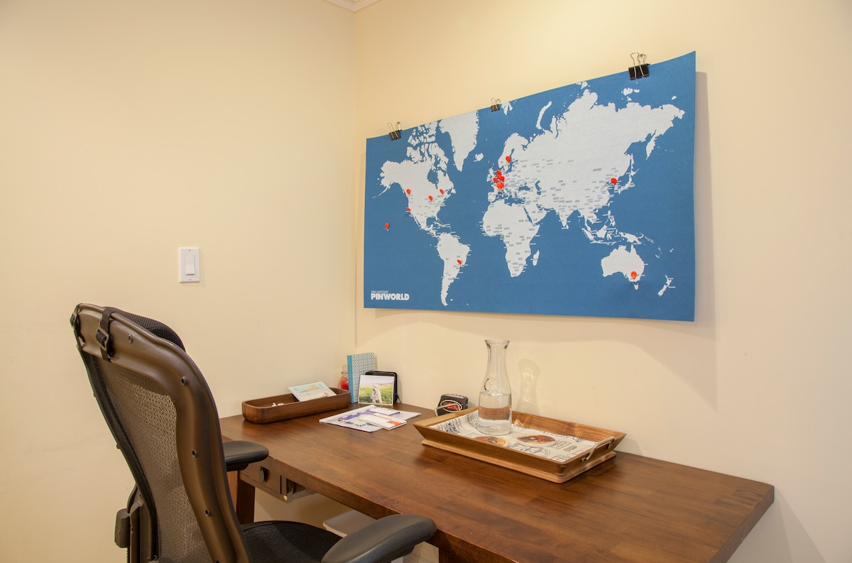 The desk in your room. Be sure to mark your home town with a pin on the map over your desk.