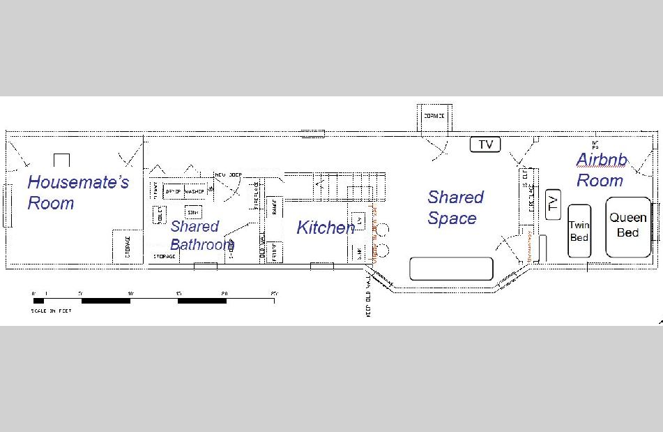 Downstairs layout including shared bathroom and other airbnb room with queen and twin bed.