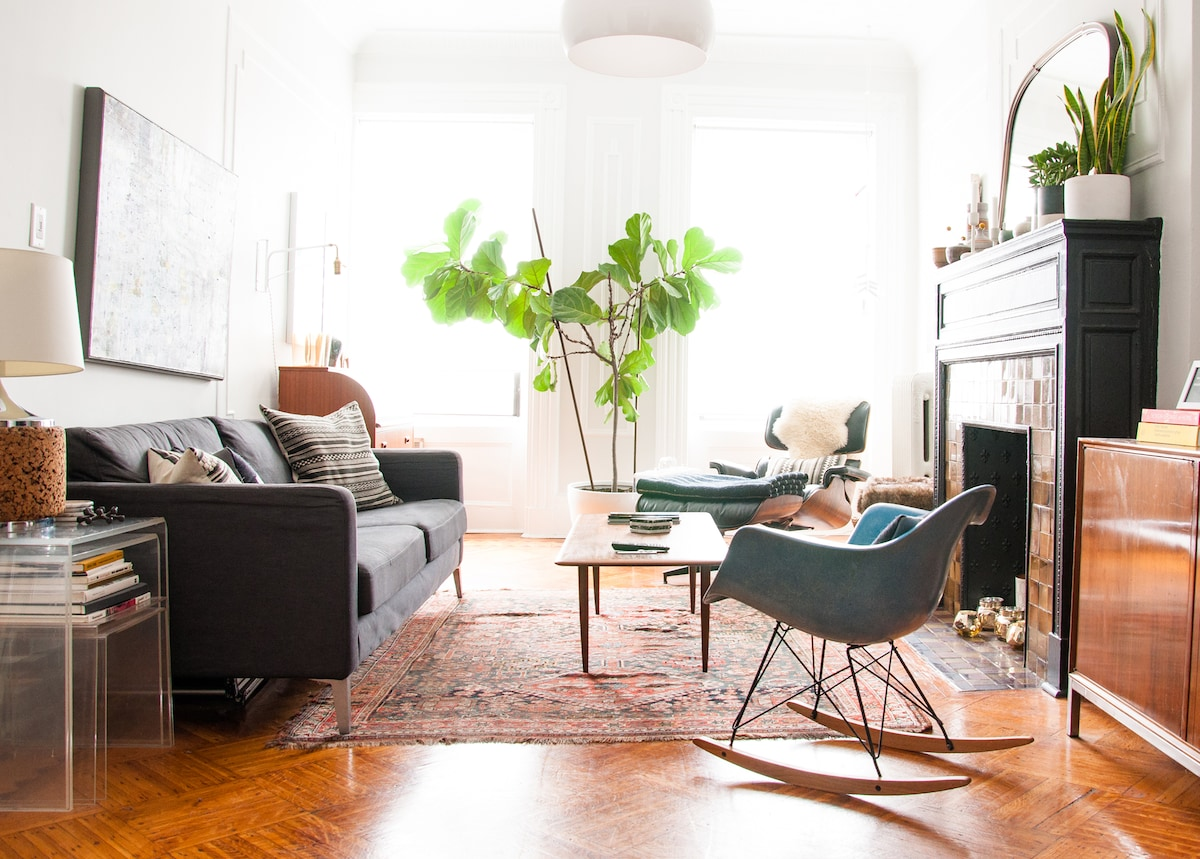 The spacious and light-filled living room is a wonderful place to hang out at any time of the day! It's super comfy and cozy.