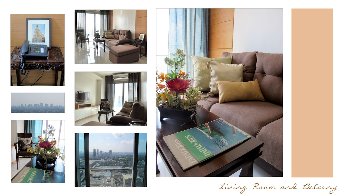 Living Room and Balcony (with panoramic views of Manila Bay, the Makati skyline and Wack Wack Golf course)