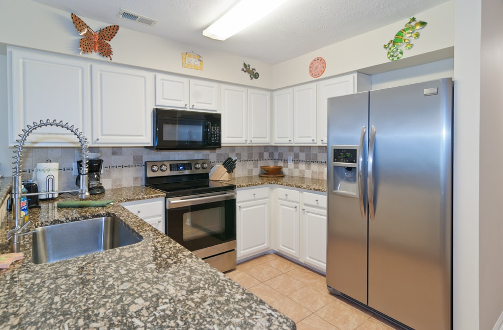Updated kitchen open to living & dining rooms