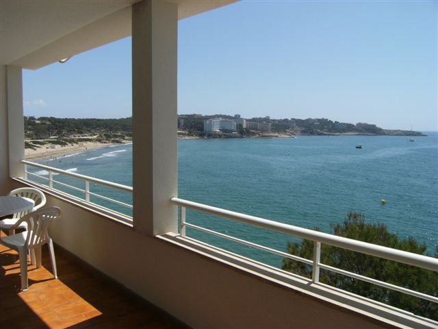 Views to the sea from the terrace of the apartment: no road, no apartments in front. Just the sea, beach, trees and you.