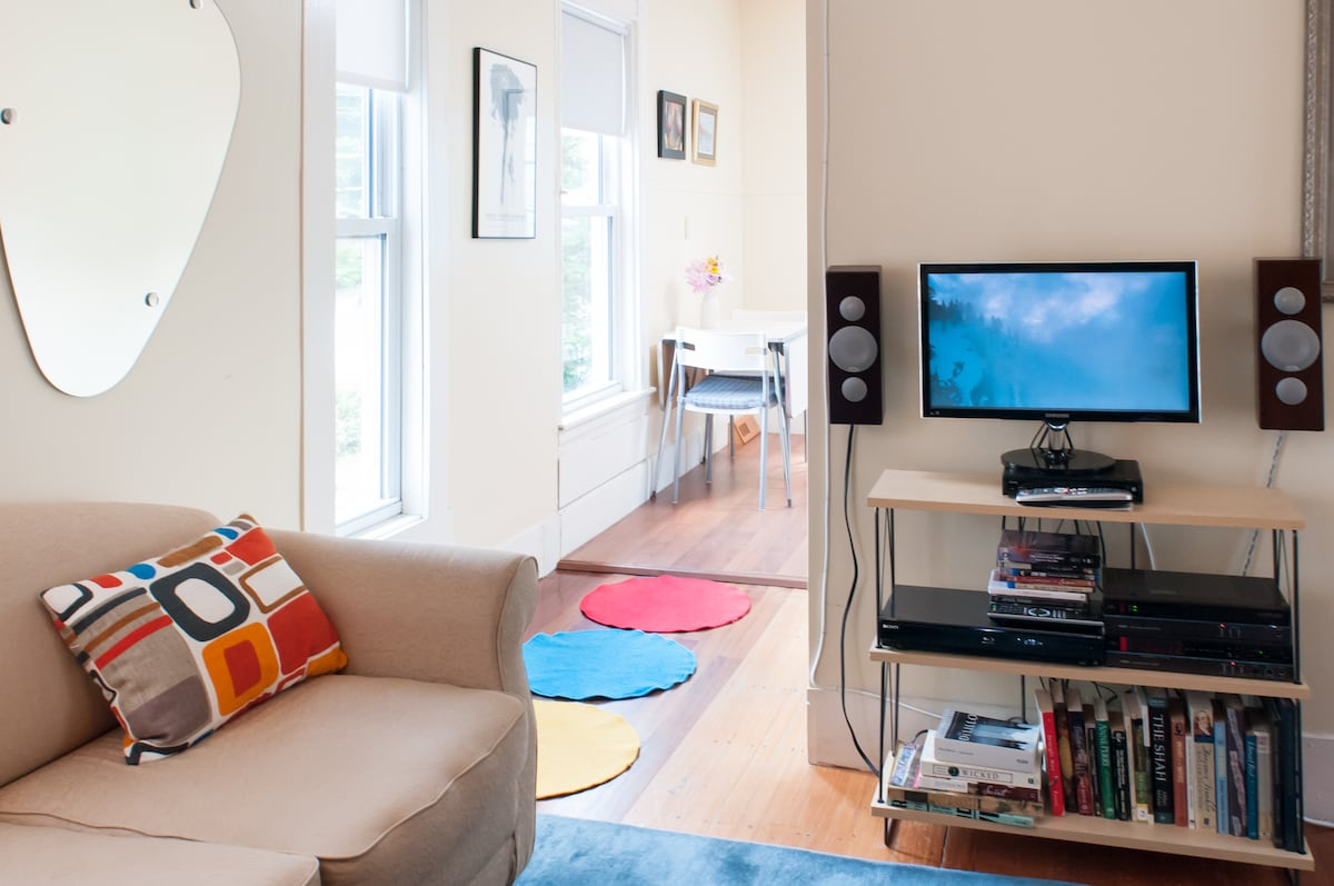 Entertainment center with fabulous custom speakers, HD cable TV and Blu Ray player