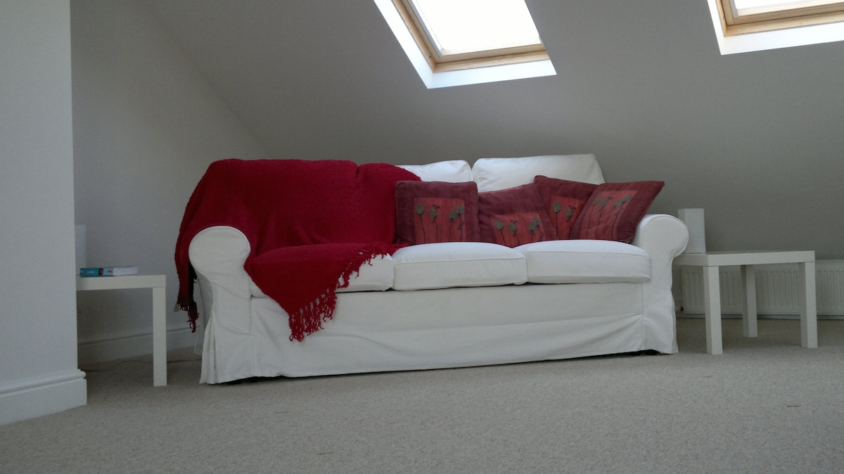 XL Attic Sanctuary with sofa bed folded