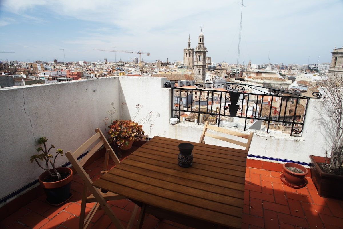 terrace, where you can smoke, enjoy coffe, beer or just view on historic centrum