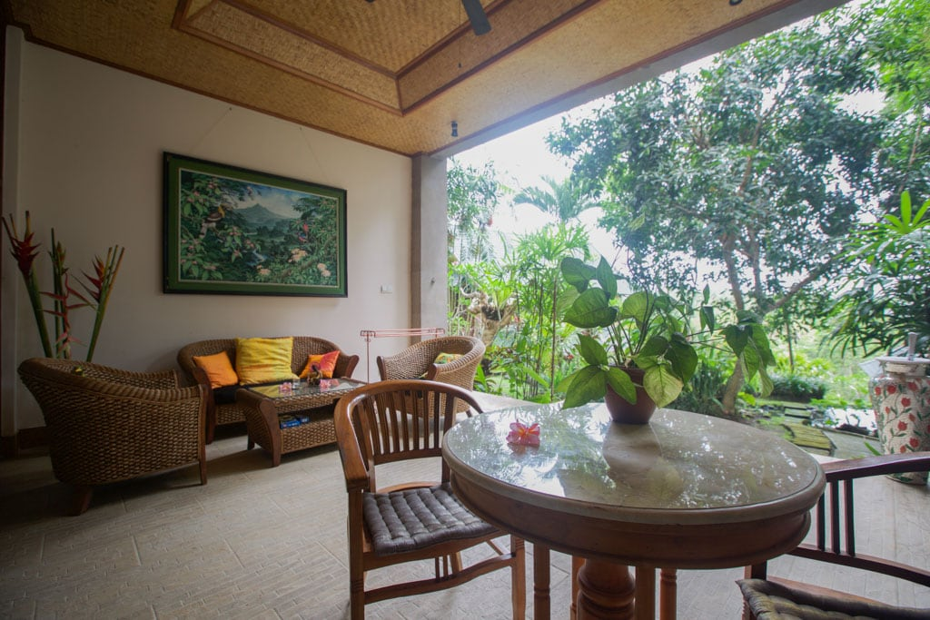 Your private verandah overlooking lush tropical gardens..