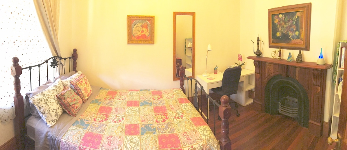 Brand new queen bed and desk in your comfortable room!